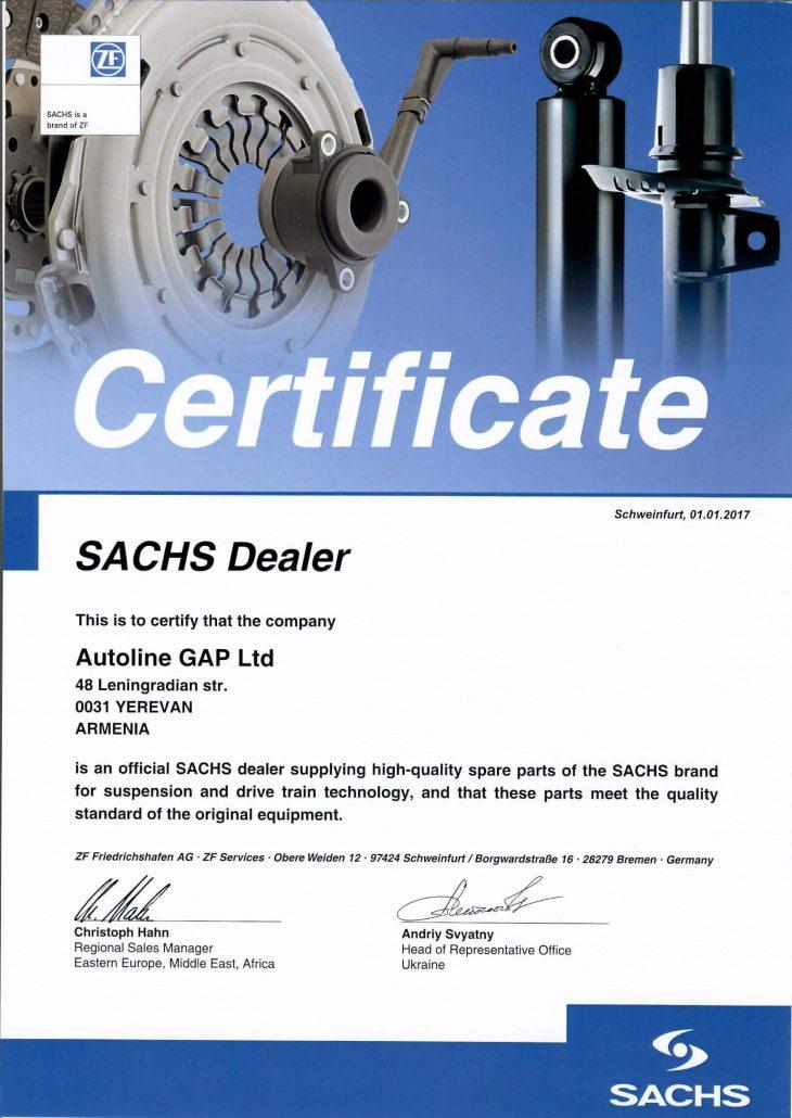 Sachs Dealer's Certificate